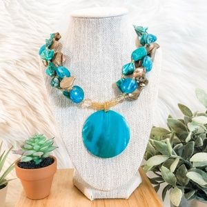 Blue & Brown Abalone Shell and Bead Necklace